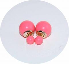 Пусеты шарики Dior малиновые