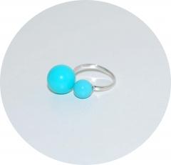 Кольцо серебряное Chanel голубое