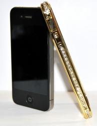 Бампер металлический со стразами для iPhone 4 золотой
