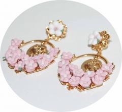 Серьги D&G Цветочки розовые