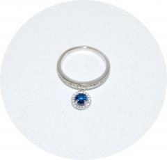 Серебряное колечко с синим камнем