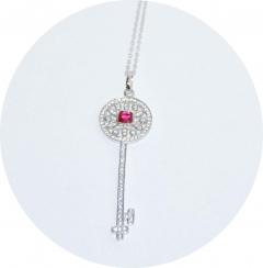 Ключик красный Tiffany серебряный 925