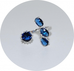 Кольцо с синими камнями