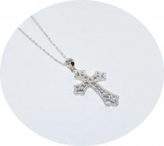 Серебряный кулон Крест со стразами