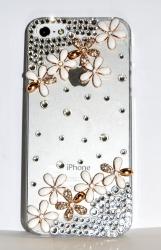 Чехол Цветочки для iPhone 4 золотой со стразами