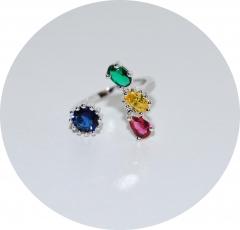 Кольцо с синим камнем