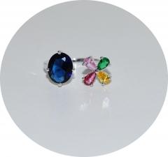 Кольцо синий камень и цветочек