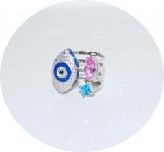 Кольцо Глаз в стиле KoJewelry голубое