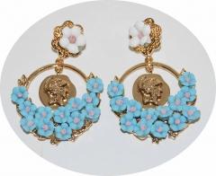 Серьги D&G Цветочки голубые