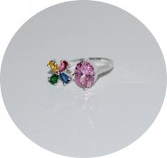 Кольцо розовый камень и цветочек