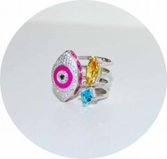 Кольцо Глаз в стиле KoJewelry розовое