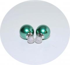 Серьги Mise En Dior зеленые со стразами 925