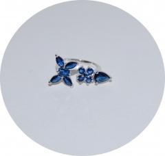 Кольцо цветочек синее