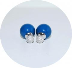 Серьги Mise En Dior синие со стразами 925