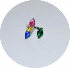 Кольцо на фалангу цветное