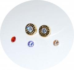 Серьги Булгари со сменными кристаллами золотые