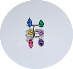 Кольцо из камней цветное крупное