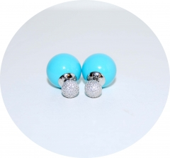 Серьги Mise En Dior голубые со стразами 925