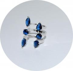 Кольцо из камней синие крупное