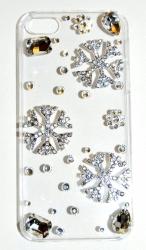 Чехол Снежинки для iPhone 5S со стразами