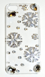 Чехол для iPhone 4 со стразами Снежинки