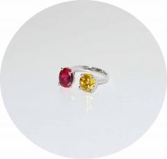 Кольцо серебряное с красным и желтым камнем