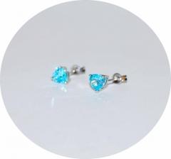 Серьги гвоздики Сердечки голубые