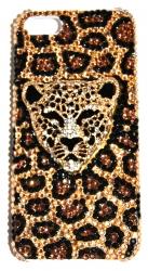 Чехол со стразами для iPhone 5S Леопард