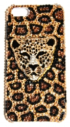 Чехол со стразами для iPhone 4 Леопард