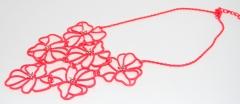 Ожерелье Цветочки кислотный оранжевый