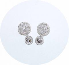 Серьги шарики ажурные из серебра с камнями