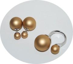 Комплект пусеты и кольцо золотой