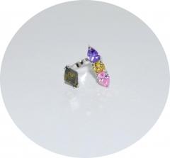 Кольцо на фалангу из камней цветное