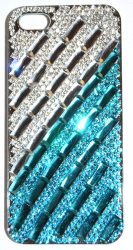 Чехол для iPhone 4 со стразами голубой