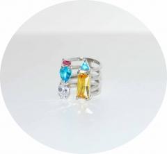 Кольцо серебряное с желтым камнем