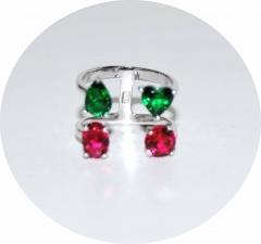 Колечко серебряное с камнями розово зеленое