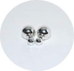 Серьги Dior зеркальные серебряные 925