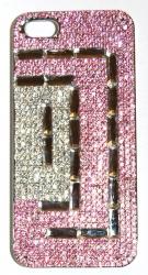 Чехол для iPhone 4S со стразами розовый