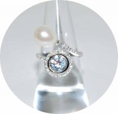 Кольцо серебряное с жемчужиной
