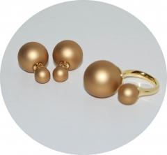 Комплект кольцо и пусеты золотой