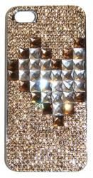 Чехол Сердце для iPhone 4S со стразами