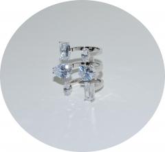 Кольцо в стиле KO из белых камней