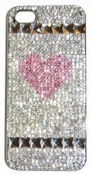 Чехол Сердечко для iPhone 4 со стразами