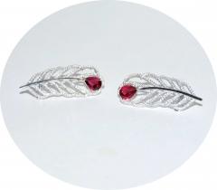 Каффы перья с розовым камнем