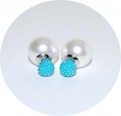 Серьги Dior бусинки голубые 925