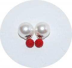 Серьги Dior бусинки красные 925