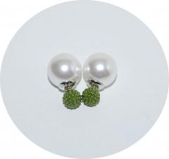 Серьги Dior бусинки зеленые 925