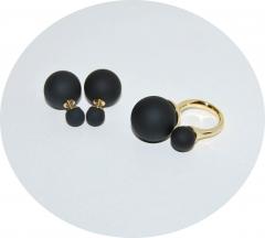 Комплект пусеты и кольцо черный
