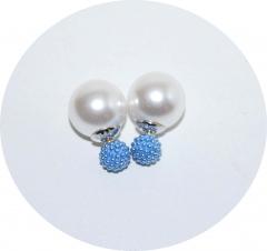 Серьги Dior бусинки синие 925