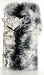 Чехол меховой для iPhone 5S серый